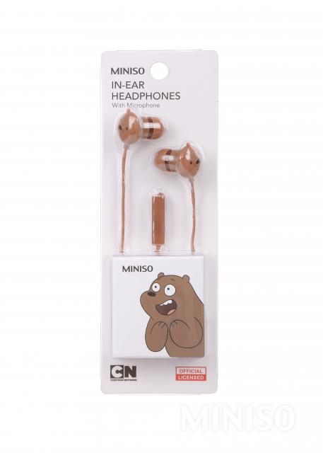 8538b185def We Bare Bears – In-Ear Headphones With Microphone (Brown) | Miniso